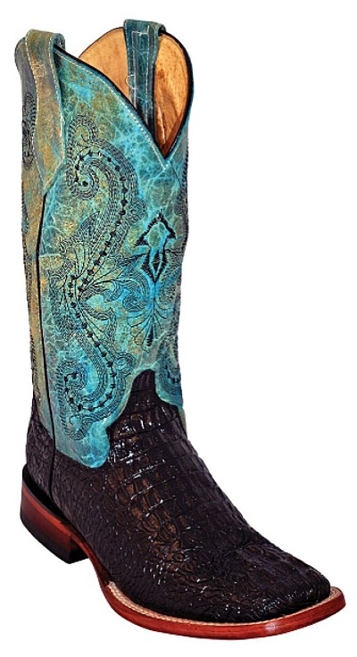 "Women's Print Crocodile S-Toe> 12"" Black/Teal"