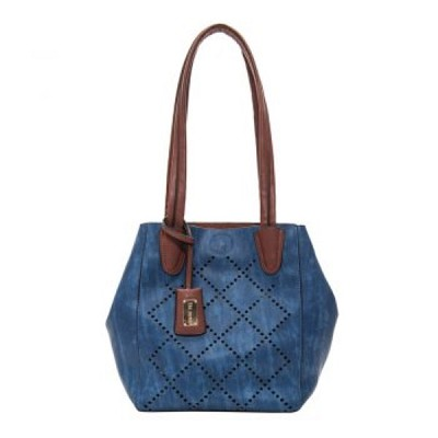 Liz Soto 3268 Navy Lasercut Two in One Tote