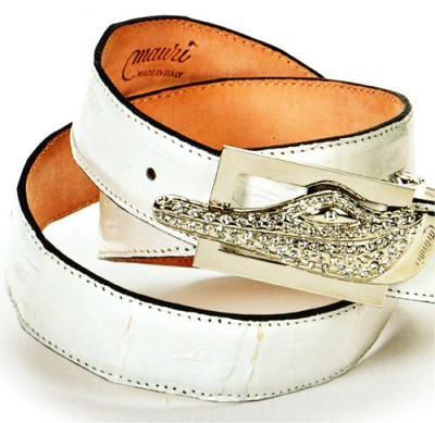 Mauri - Baby Crocodile Hand Painted White (Belt Only)