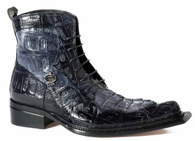 Mauri Raffaello Baby Croc Hornback Tail hand painted in Black/Medium Grey or Brandy/Sport Rust 42742
