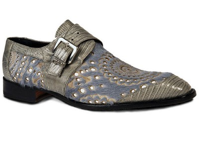 Mauri Pony Light Grey Perforated Ceruti 4826 Teju Lizard Light Grey