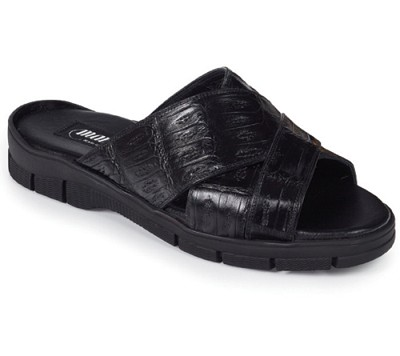 Mauri 5018 Cagnola Sandal in Baby Crocodile  with Rubber Sole in Black