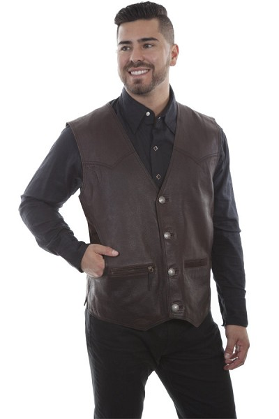 Scully Dark Brown Rugged Lamb Vest