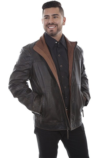 Scully Leather Two Tone Collar Vintage Jacket in Black