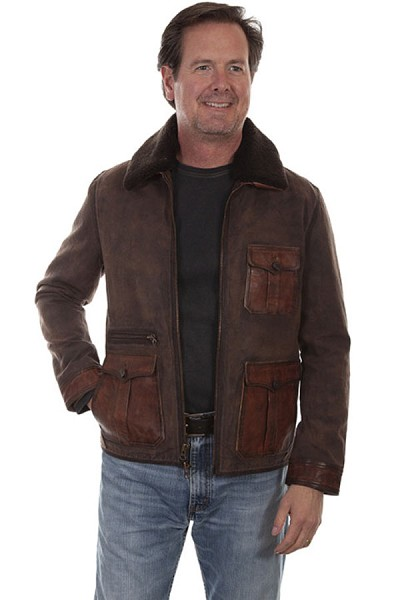 Scully Canvas and Leather Trim Jacket - Brown
