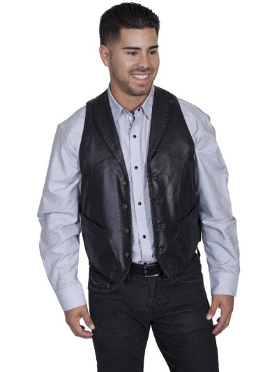 Scully Leather Whip Stitch Lapel Leather Vest in 3-Colors