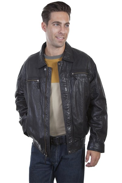 Scully Leather Rugged Lambskin Jacket in Black