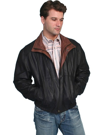 Scully Leather Featherlite Jacket with Double Collar in Black