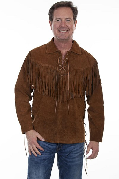 Scully Fringe Leather Shirt in Brown