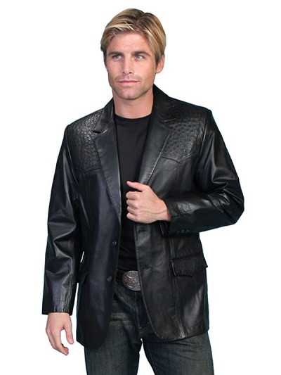 Scully Lambskin Blazer with Ostrich Trim - Black