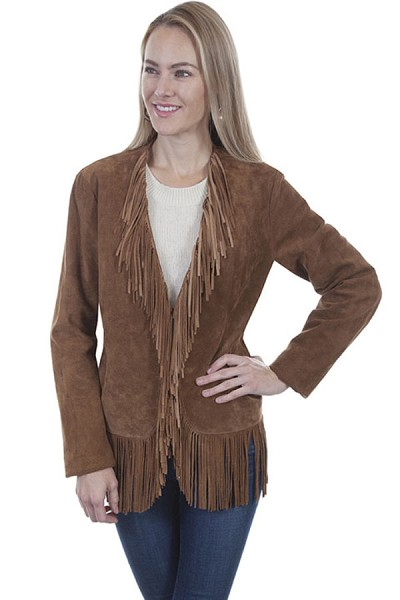 Scully Leather Suede Fringe Jacket in Cinnamon Boar Suede
