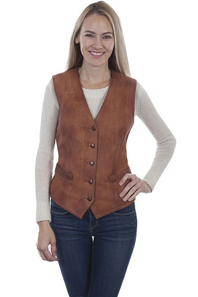 Scully Leather Ladies Vest in Cognac