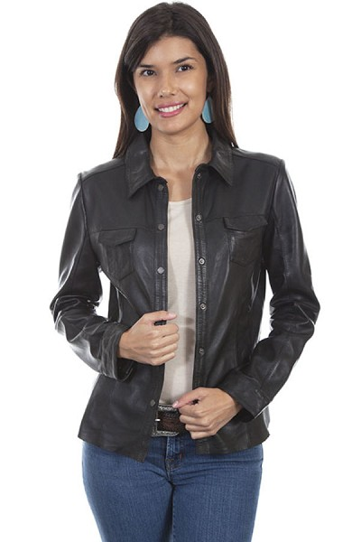 Scully Leather Contemporary Lamb Jacket in Black