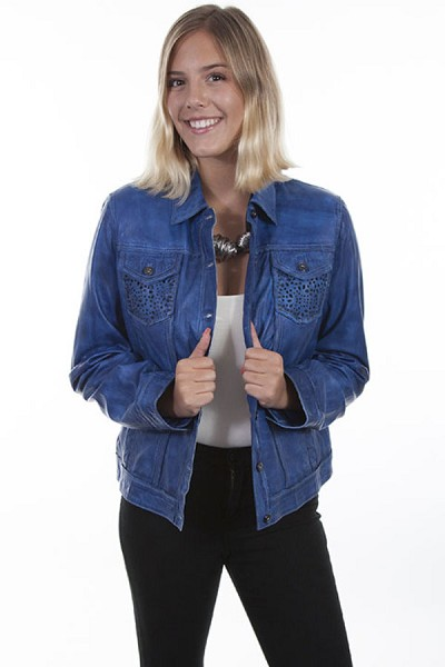 Scully Leather Jean Jacket in Royal Blue