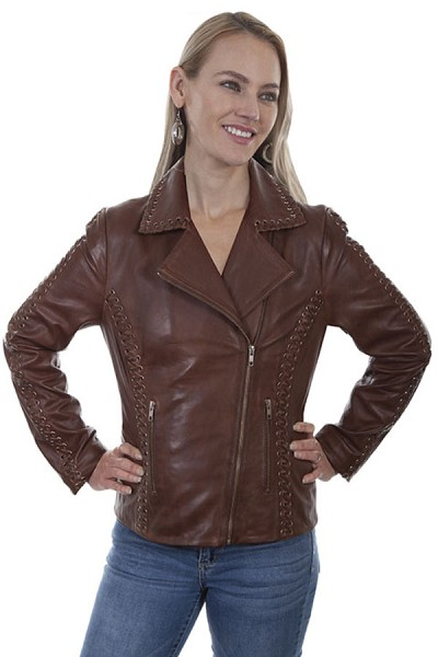 Scully Motorcycle Jacket with Grommets in Brown