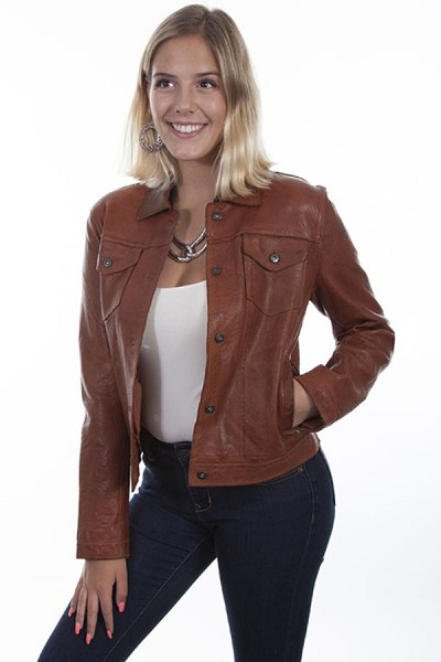 Scully Leather Jean Jacket in Cognac