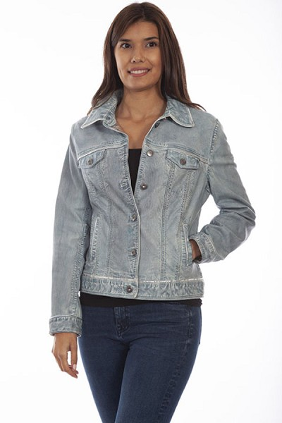 Scully Leather Jean Jacket in Denim