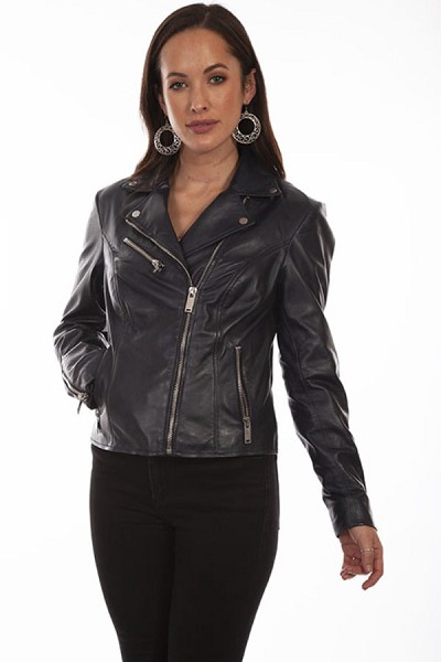 Scully Leather Motorcycle Jacket in Navy