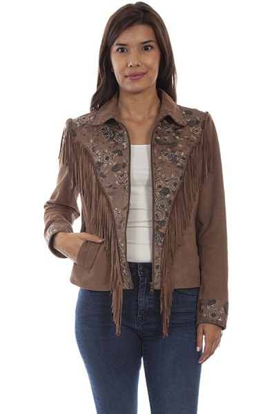 Scully Suede Fringe & Beaded Jacket in Sand