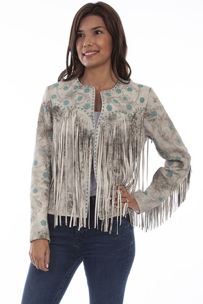 Scully Lamb Suede Fringe and Beaded Jacket in Cream