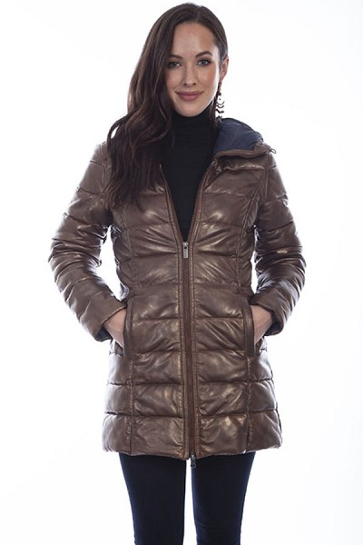 Scully Ribbed Lamb Coat in Copper