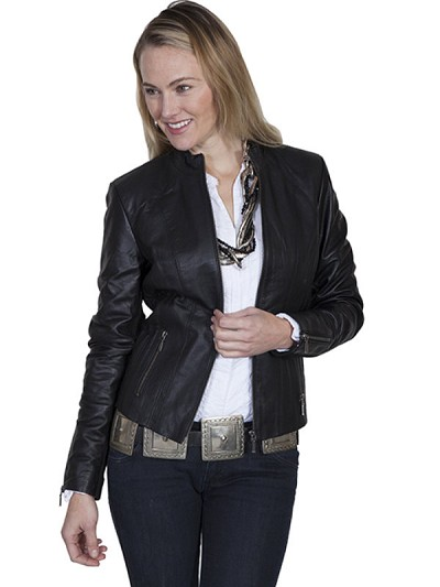 Scully Leather Ribbed Leather Jacket in Black