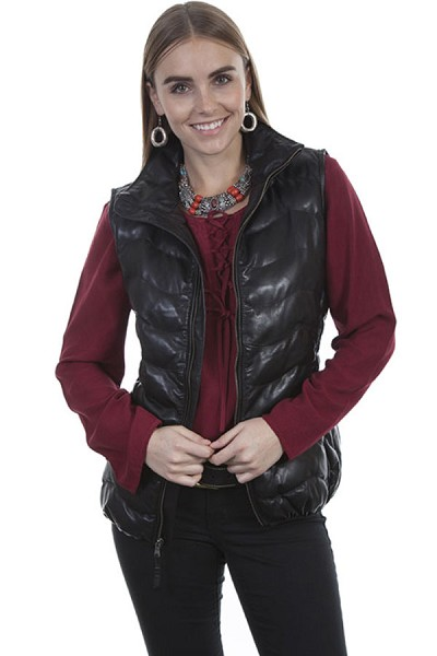 Scully Leather Ribbed Leather Vest in Black