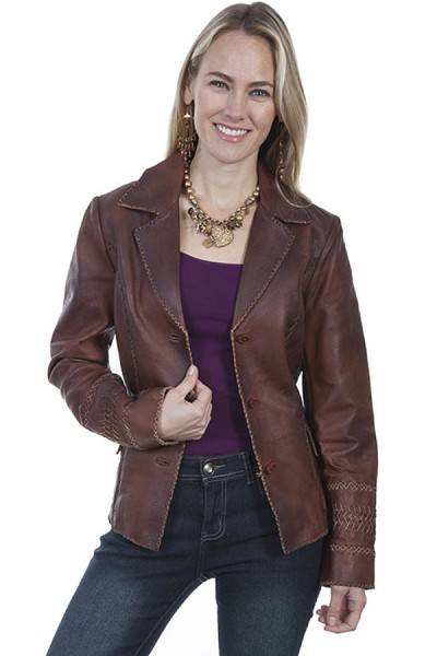Scully Leather  Lambskin Jacket with Whip & Cross Stitch Trim