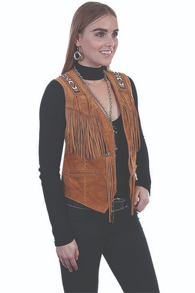 Scully Leather Hand Laced & Bead Trim Vest